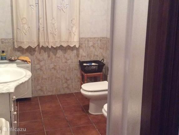 Hier ziet u de badkamer, in de badkamer is een wastafel, douchecabine, toilet en een bidet aanwezig. Onder de wastafel staat een mooi meubel met voldoende ruimte voor de toiletspullen.