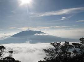 Enjoy the view. View from the top of Mount Singgalang Mount Marapi