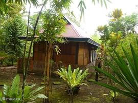 Rumah kayu, the wooden house. In the garden, but integrated with all facilities