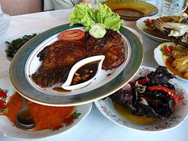 Ikan gurami pang corridor, grilled Gourami fish. The Sumatran cuisine is extremely rich in delicious dishes. Our neighbor loves to cook. Self Sumatran learn to cook is also possible