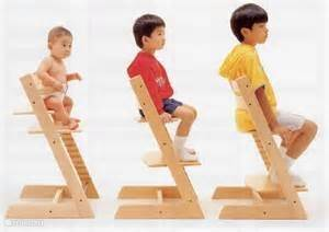 "For infants and children are 2 original ""triptrap"" highchairs."