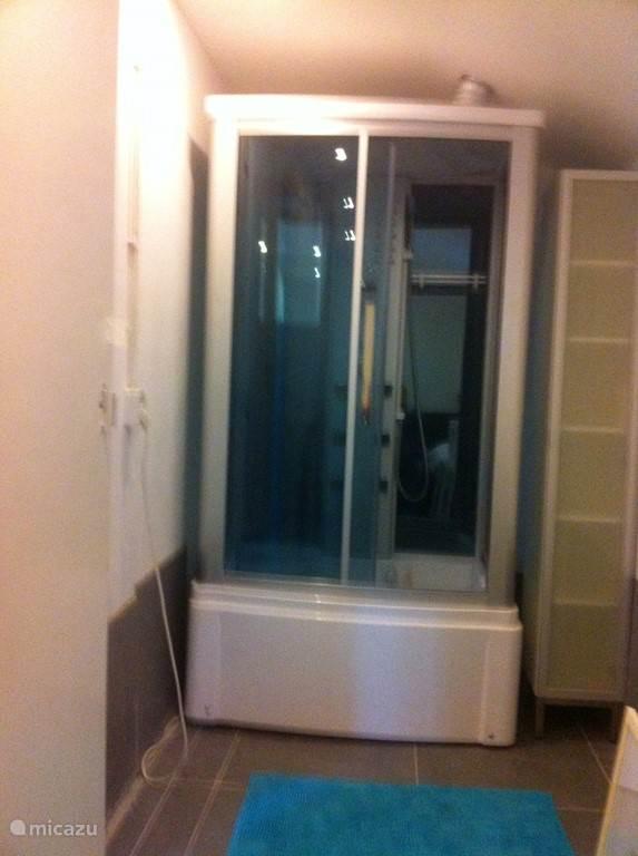 Een eigentijdse bedstee met stoom douche cabine.