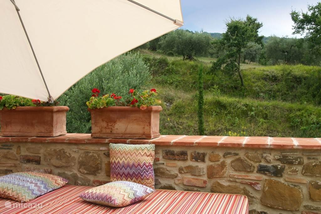 Lounge hoek op het zonnige zuidterras met zitbank voor 6 personen. Dit terras is zeer groot en biedt ruimte aan ligstoelen en ontbijttafel.