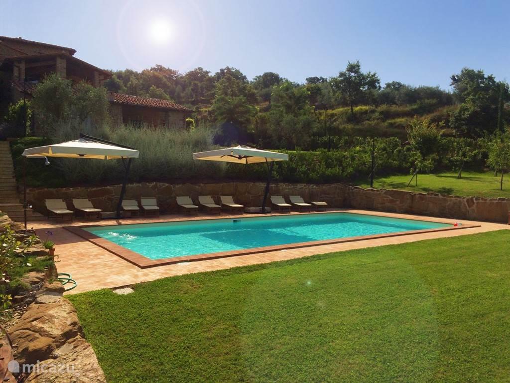 Zwembad 6 x 12 meter, ca. 1,40 meter diep, voor exclusief gebruik door Mazzo (6 pers.) en het eronder liggende Pozza (5 pers.)