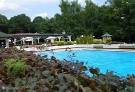 Een mooi zwembad met apart een kinderbadje, waar de kleintjes heerlijk kunnen spelen