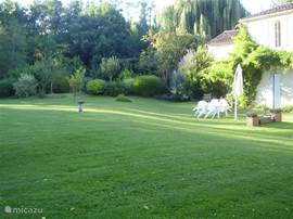 The lawn at the house. The practical summer kitchen invites you to eat outside. A barbecue charcoal is at your disposal. There is garden furniture and there are sunbeds.