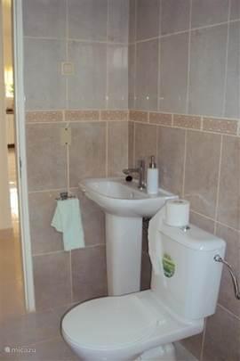 Badkamer, inclusief toilet en douche.