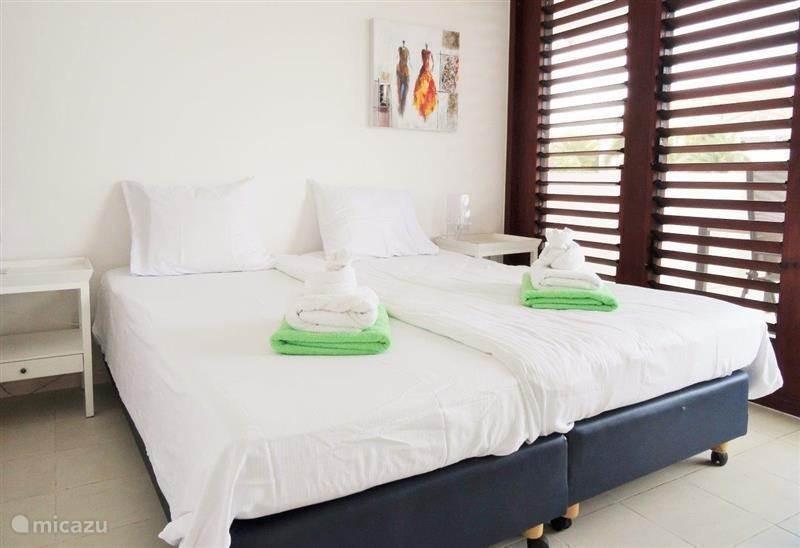Masterbedroom met eigen terras met ligbedden; badkamer en inloopkast, Horren voor de ramen. Airco. Bedden naar wens gekoppeld of apart. SMART TV.