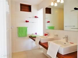 Privé badkamer bij de Master bed-room. Voorzien van Douche, wasbakken, toilet. Inloopkast staat in verbinding met zowel slaapkamer als badkamer.