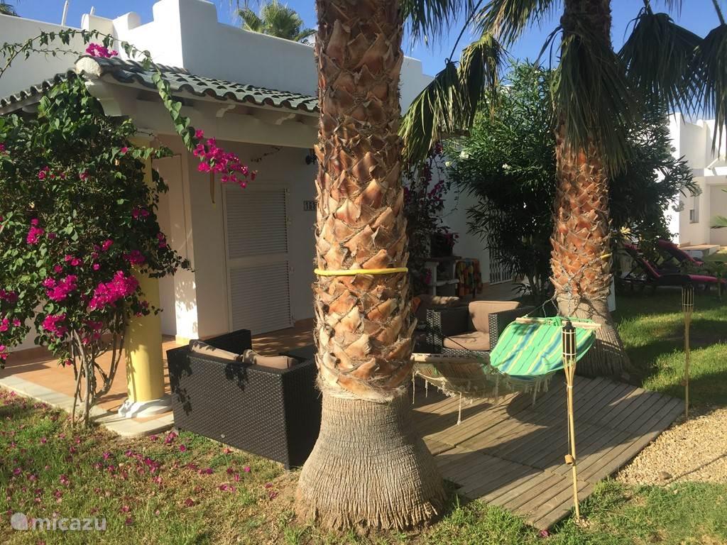 Hangmat met fakkels , zie volgende foto voor uitzicht vanaf de hangmat.