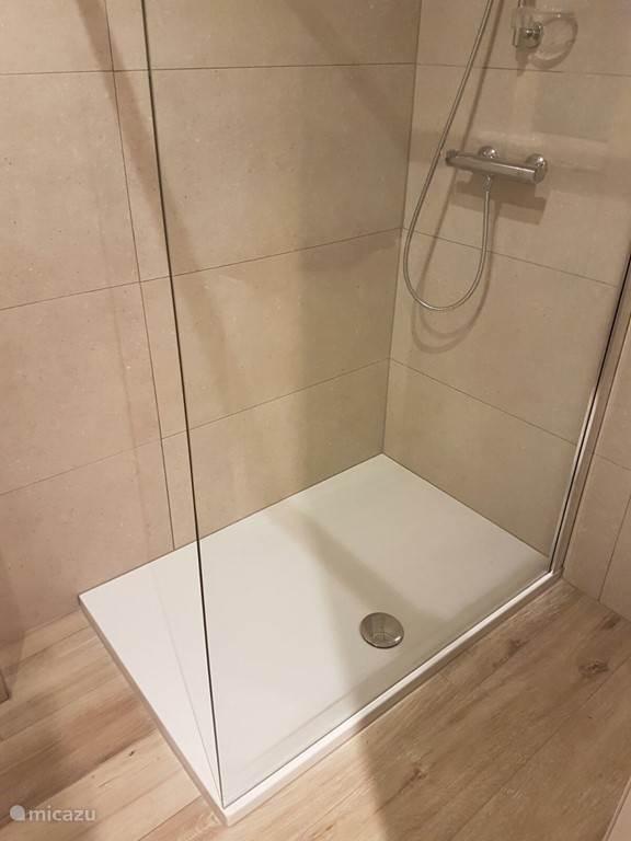 Badkamer met douche en toilet