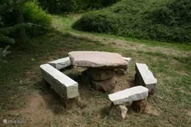 zitje van natuursteen (bij de abies feitchi) waarvan de tafelsteen +- 300 kilo met het uitgraven van de vijver te voorschijn kwam. Heb deze gevlakt en met nog wat andere stenen een zitje gemaakt