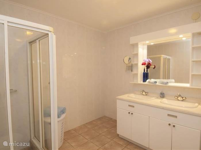 Vanuit de slaapkamer komt u in de badkamer. Deze is voorzien van Douche, toilet en badmeubel.