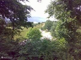 Uitzicht vanaf het terras op de Brunssumer heide.