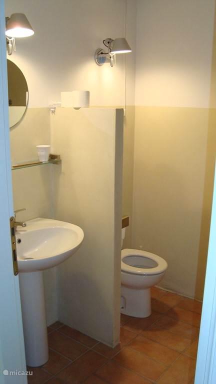 Een van de twee badkamers met toilet, wastafel en douche