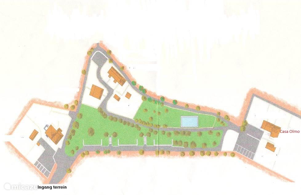 Het terrein van Borgo Roncaglia met de ligging van ons appartement -  Casa Olmo