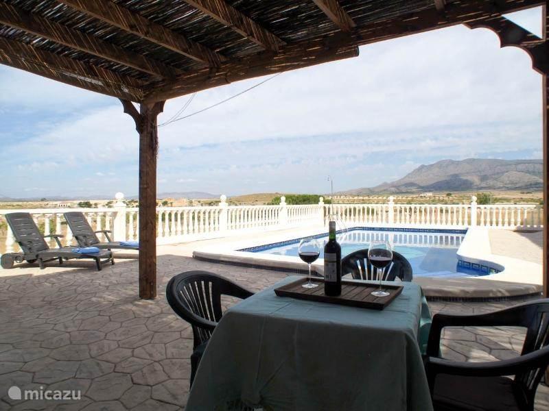 Het terras, wat heel veel privacy biedt. Het zwembad is voorzien van ligstoelen, een pergola en ruim voldoende tafels en stoeltjes.