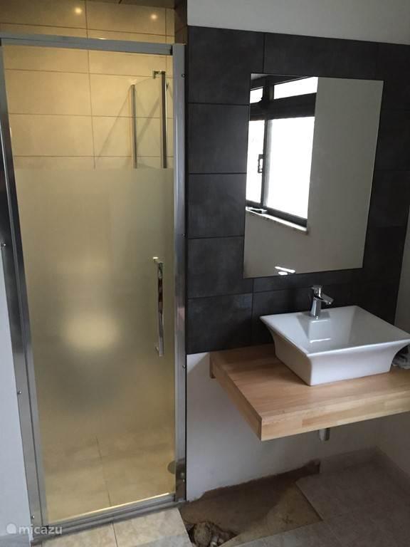 Tweede nieuwe badkamer met toilet en douche.