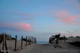 Prachtige avond uitzicht op de oceaan vanuit de duinen