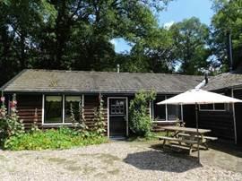 Buitenaanzicht van de bungalow met picknick-bank