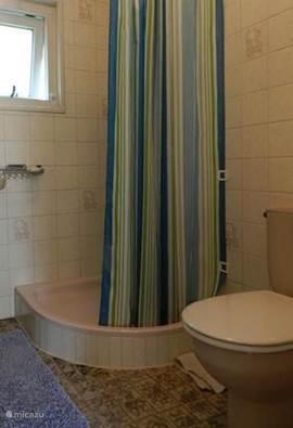 Verwarmde douche-ruimte met wastafel en toilet.