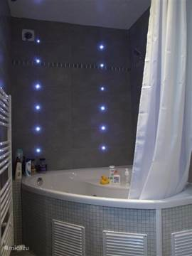 Badkamer met jacuzzi en douche om  lekker te ontspannen!