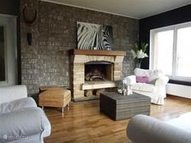 Gezellig woonkamer met prachtig zicht op de Citadelle en de Collegiale van Dinant en een open aard.50 m2