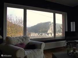 photo of the living room with a beautiful view of the Citadel of Dinant.