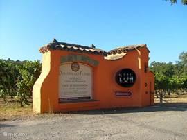 Bij de entree / oprit naar het wijndomein, uitleg over de diverse soorten wijn