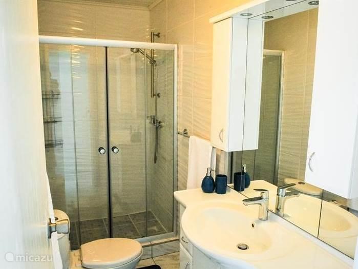 Ruime badkamer met toilet inclusief wastafelmeubel en  haardroger