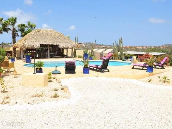 Hier het zwembadgebied met relax gelegenheid