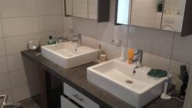 Two sinks with cupboards