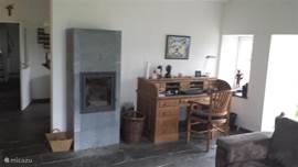 Cozy soapstone stove and writing desk