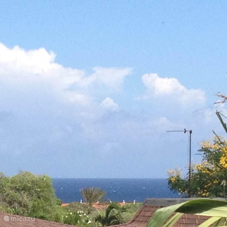 Vanaf de veranda van Villa Chili Pepper heeft u prachtig uitzicht over het park en de Caribische zee.