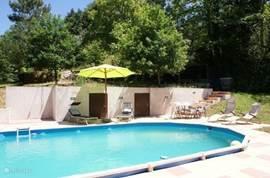 Inbouwzwembad op lager gelegen terras met maximale zonligging en zéér besloten ligging waardoor maximale privacy. Bij ongedeeld gebruik kunt u hier ongestoord naturistisch zonnen en zwemmen.