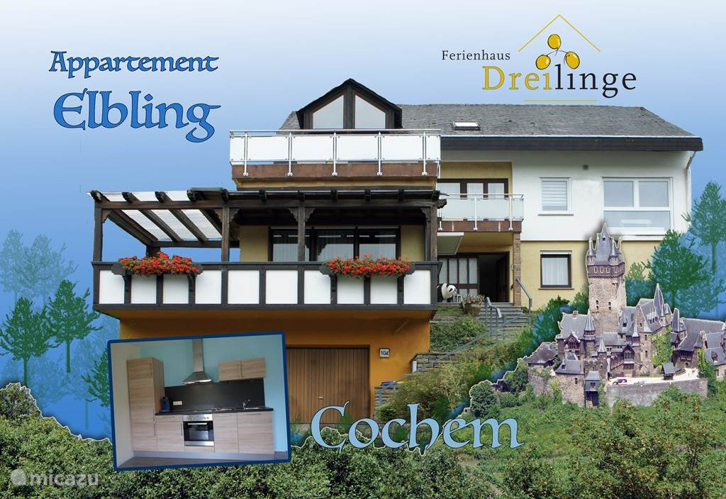 Vacation rental Germany, Moselle, Cochem apartment Ferienhaus Dreilinge, app. Elbling