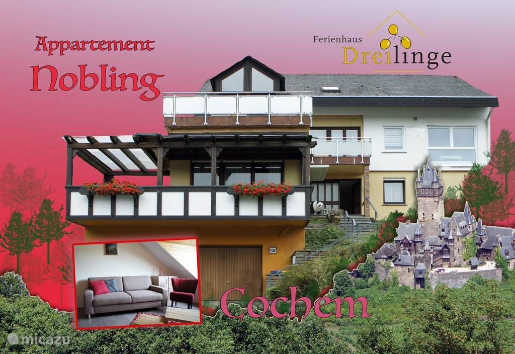 Vacation rental Germany, Moselle, Cochem apartment Ferienhaus Dreilinge, app. Nobling
