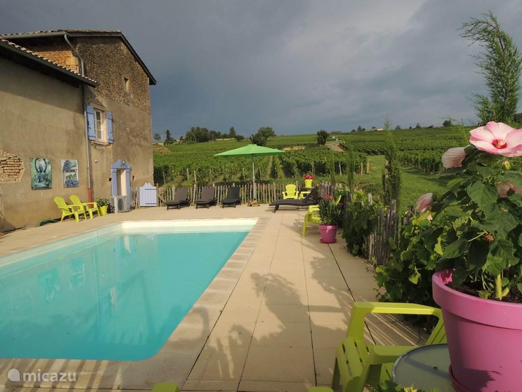 Achter de gîte ligt het zwembad. Er zijn verschillende stoelen en ligbedden om van de zon te genieten.