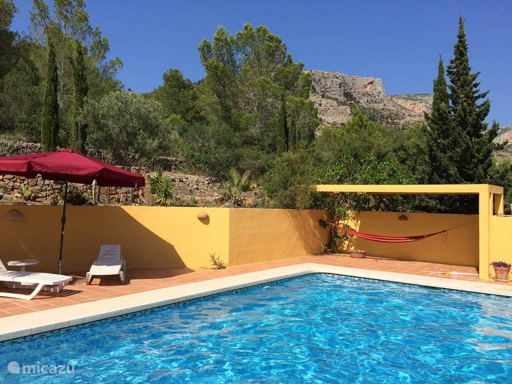 Zwembad omgeven met terras en de natuur