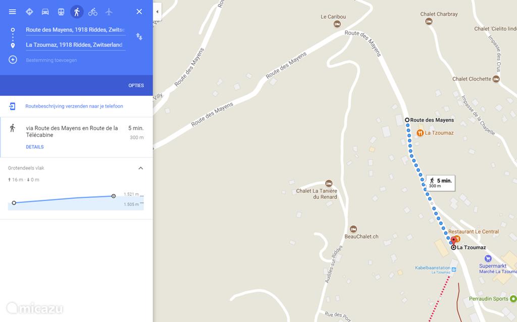De route van het appartement naar de telecabine. 300m