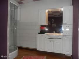 Badkamer met riant wandmeubel en Douche