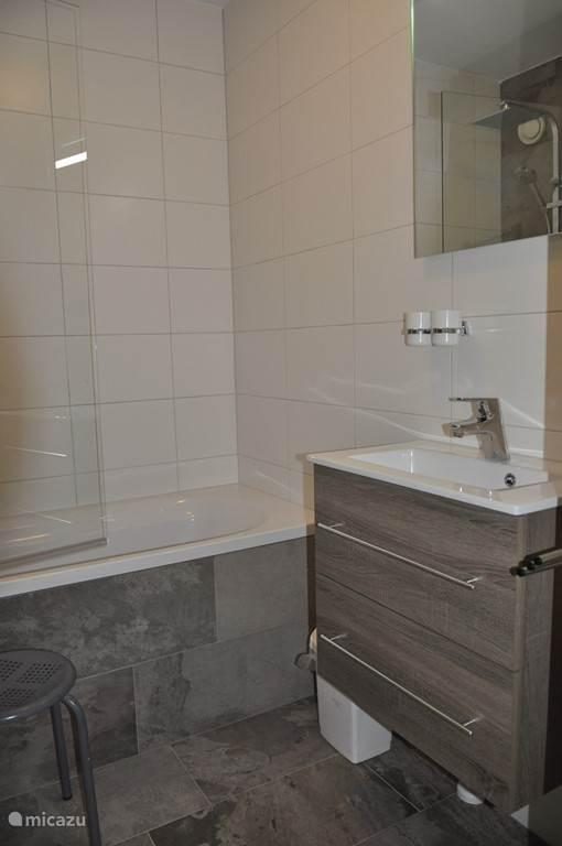 Geheel vernieuwde badkamer met bad/douche en wasgelegenheid.