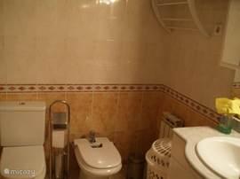 Badkamer  heeft tevens handdoekrek en wasmand.