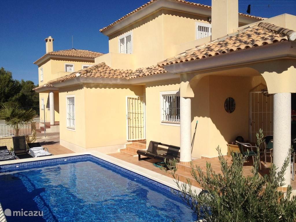 Overzichtsplaatje zwembad en voorzijde huis