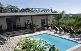 Het gezamenlijk zwembad is direct toegankelijk via een trap vanuit de villa.