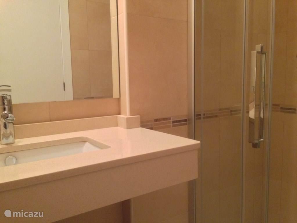 1 van de 2 badkamers; beide met wastafel, douche en toilet.