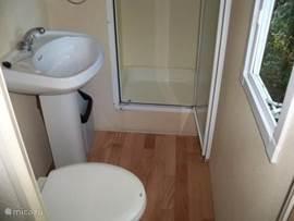 Badkamer met douchecabine wastafel en toilet