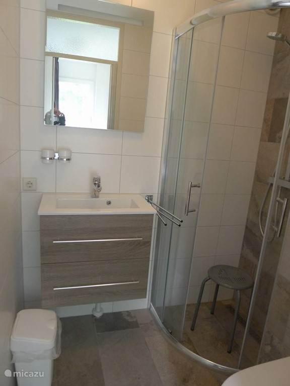 Badkamer 2 met inloopdouche, wasgelegenheid en toilet