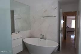 Badkamer 1 - Toilet, ligbad en dubbele wastafel