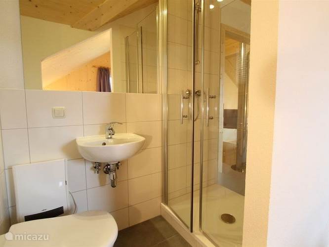 Ensuite bathroom with shower.